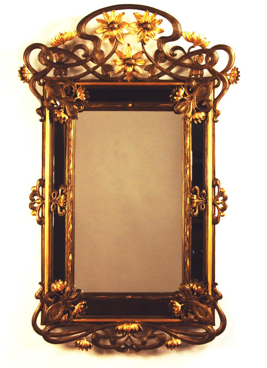 Art nouveau sunflowers mirror carvers 39 guild for Miroir art nouveau